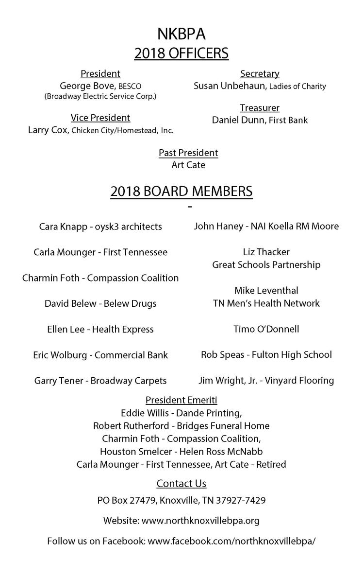 2018 Board Contact Sheet wo numbers
